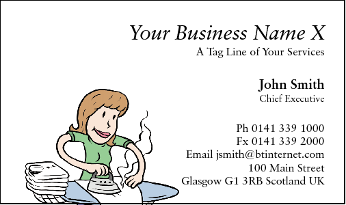 Business Card Design 32 for the Ironing Industry.