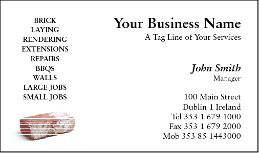 Business cards for brick layers business card design 176 for the brick laying industry reheart Images
